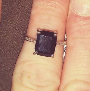 Black Sapphire Sterling Silver Ring